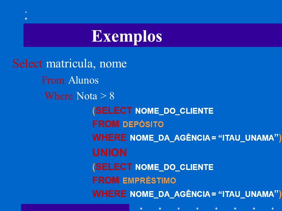 Exemplos Select matricula, nome From Alunos Where Nota > 8 UNION