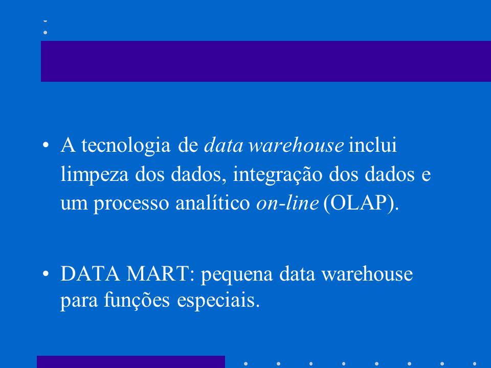 A tecnologia de data warehouse inclui limpeza dos dados, integração dos dados e um processo analítico on-line (OLAP).