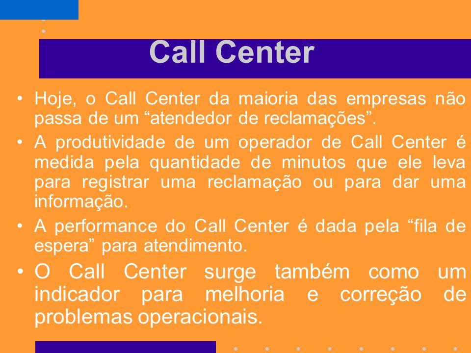 Call Center Hoje, o Call Center da maioria das empresas não passa de um atendedor de reclamações .