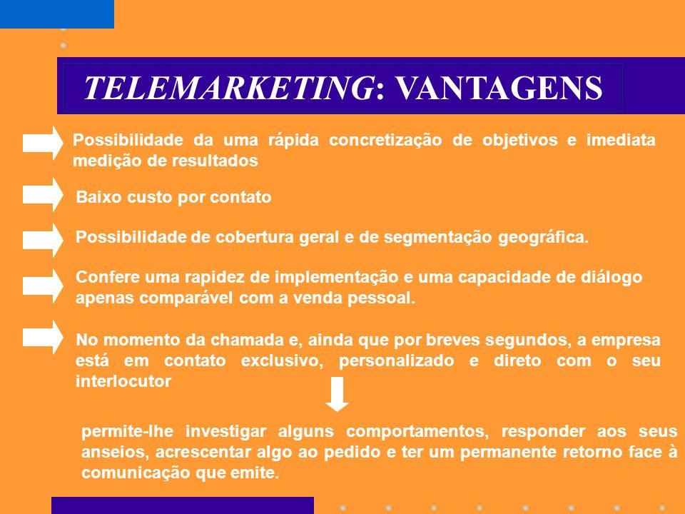 TELEMARKETING: VANTAGENS