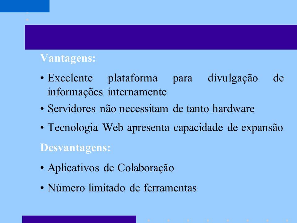 Vantagens: Excelente plataforma para divulgação de informações internamente. Servidores não necessitam de tanto hardware.