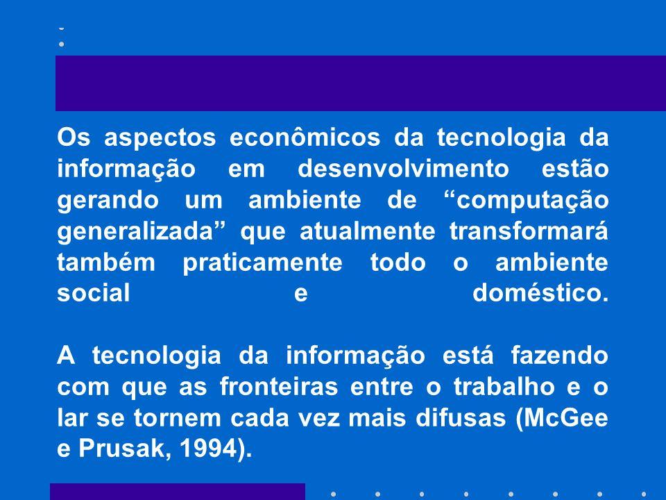 Os aspectos econômicos da tecnologia da informação em desenvolvimento estão gerando um ambiente de computação generalizada que atualmente transformará também praticamente todo o ambiente social e doméstico.