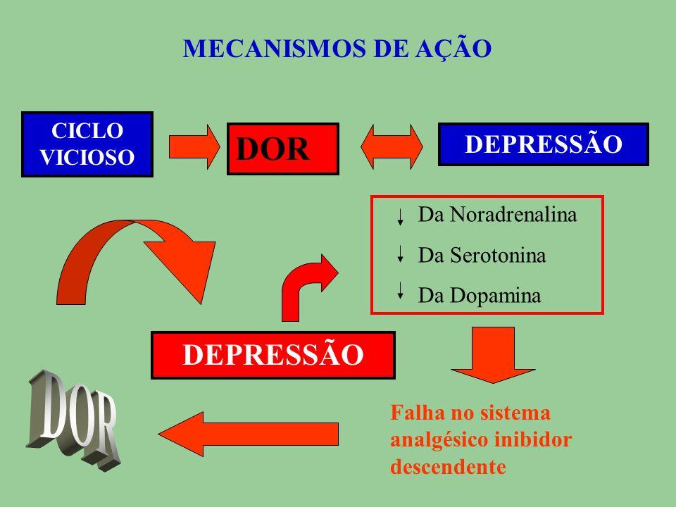 DOR DOR DEPRESSÃO MECANISMOS DE AÇÃO DEPRESSÃO CICLO VICIOSO