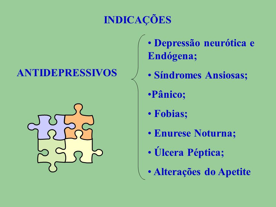 INDICAÇÕESDepressão neurótica e Endógena; Síndromes Ansiosas; Pânico; Fobias; Enurese Noturna; Úlcera Péptica;
