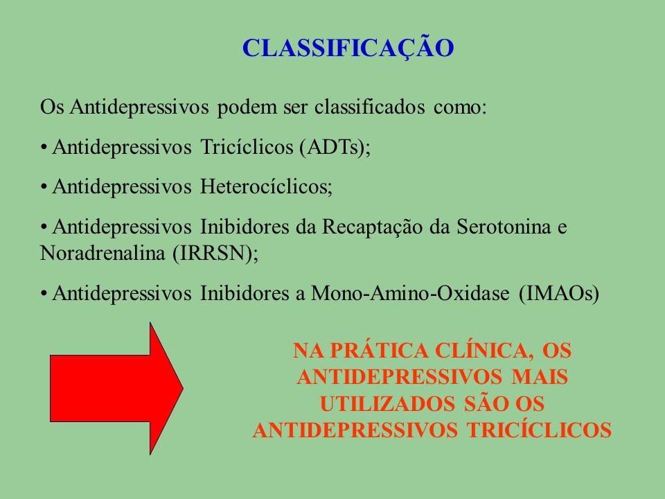 CLASSIFICAÇÃO Os Antidepressivos podem ser classificados como: