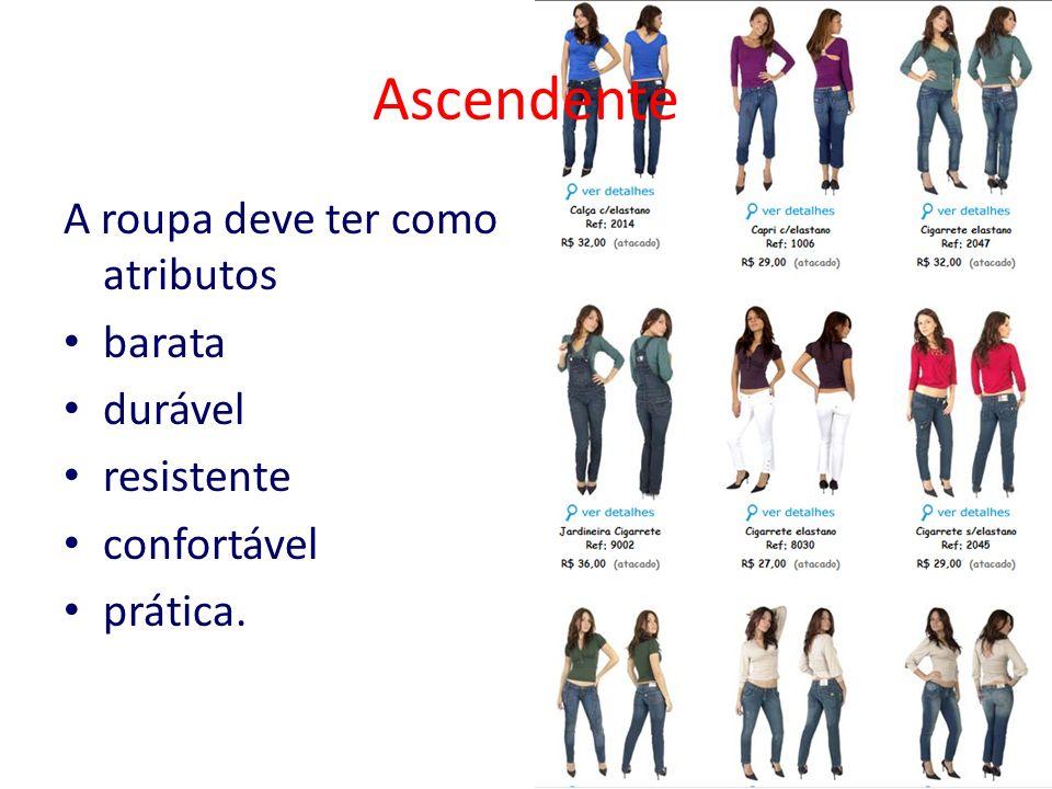 Ascendente A roupa deve ter como atributos barata durável resistente
