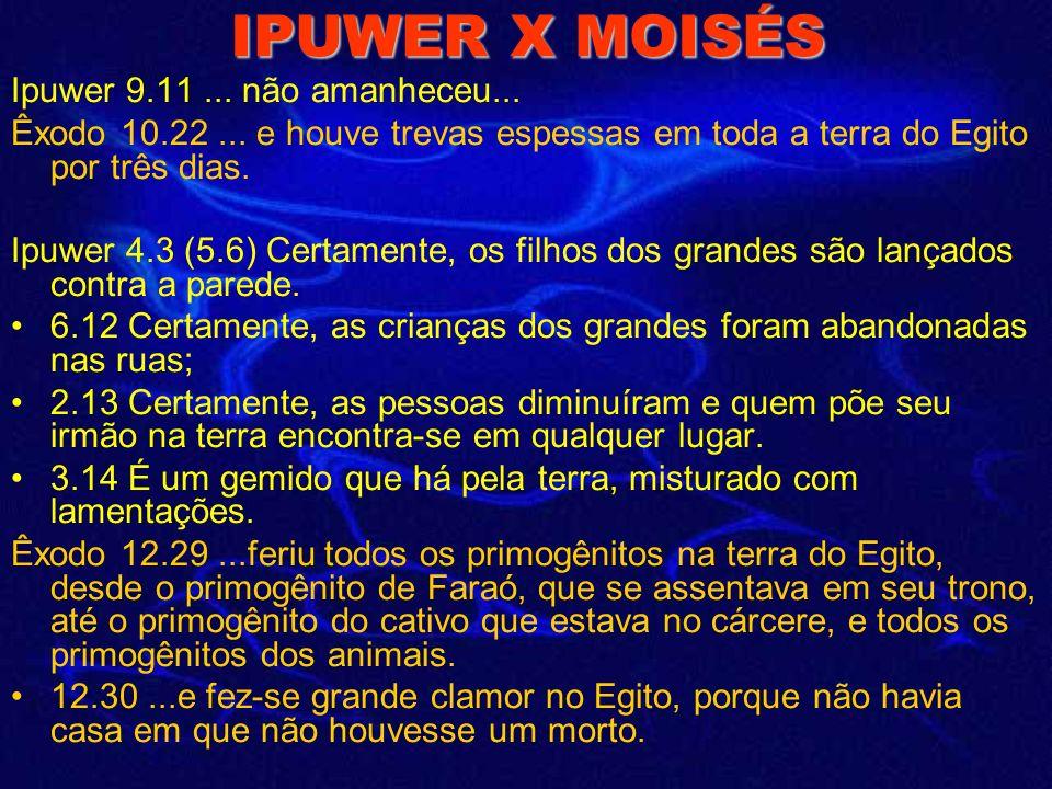 IPUWER X MOISÉS Ipuwer 9.11 ... não amanheceu...
