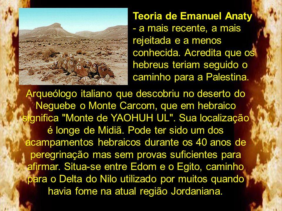 a Teoria de Emanuel Anaty - a mais recente, a mais rejeitada e a menos conhecida. Acredita que os hebreus teriam seguido o caminho para a Palestina.