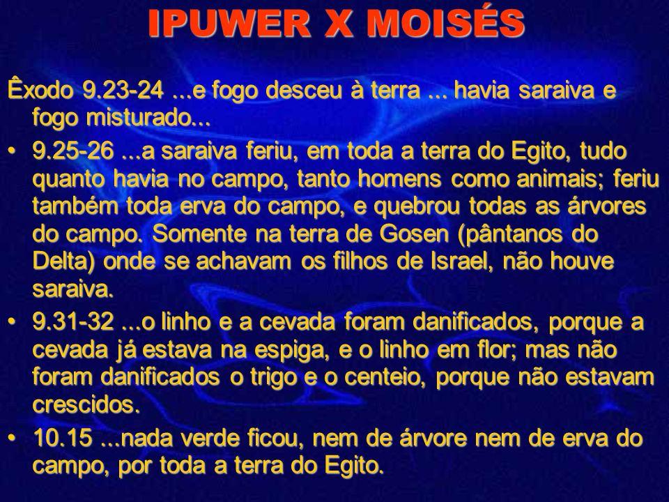 IPUWER X MOISÉS Êxodo 9.23-24 ...e fogo desceu à terra ... havia saraiva e fogo misturado...