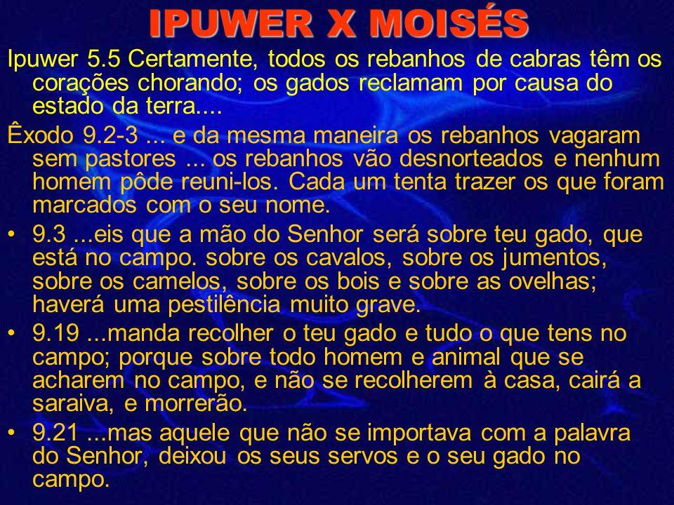 IPUWER X MOISÉS Ipuwer 5.5 Certamente, todos os rebanhos de cabras têm os corações chorando; os gados reclamam por causa do estado da terra....