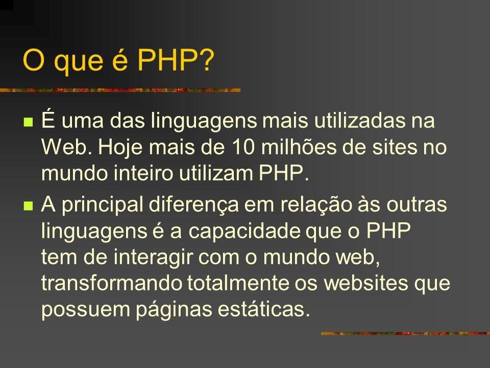 O que é PHP É uma das linguagens mais utilizadas na Web. Hoje mais de 10 milhões de sites no mundo inteiro utilizam PHP.