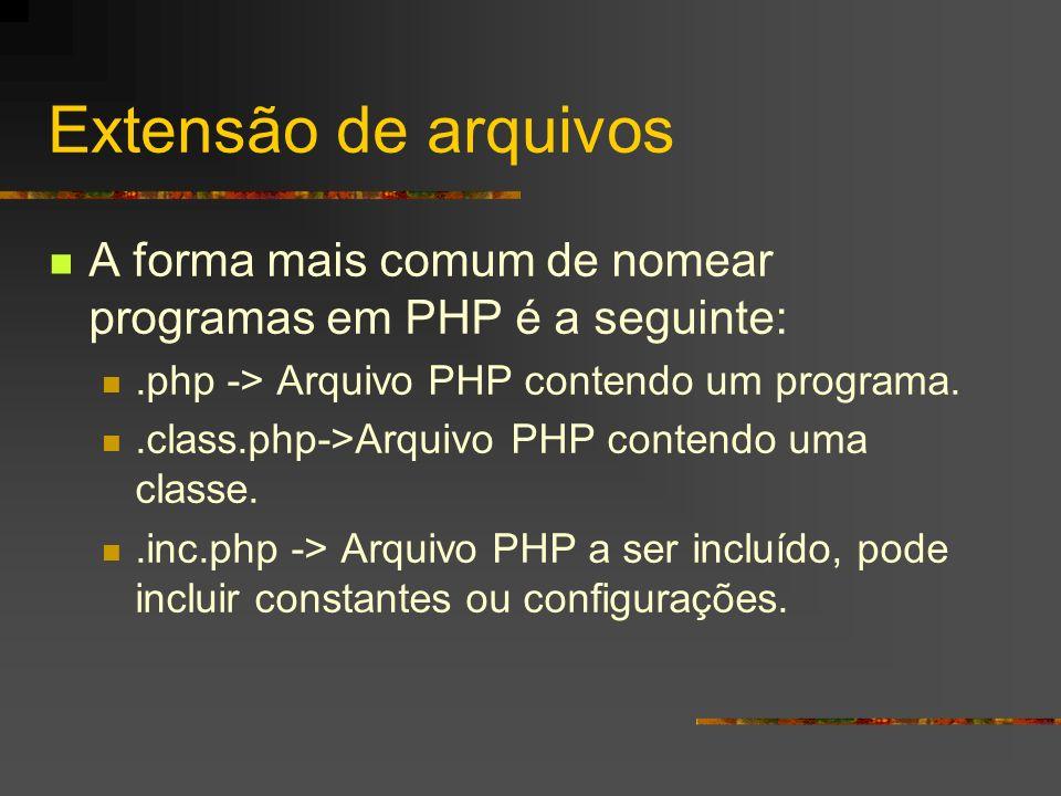 Extensão de arquivos A forma mais comum de nomear programas em PHP é a seguinte: .php -> Arquivo PHP contendo um programa.