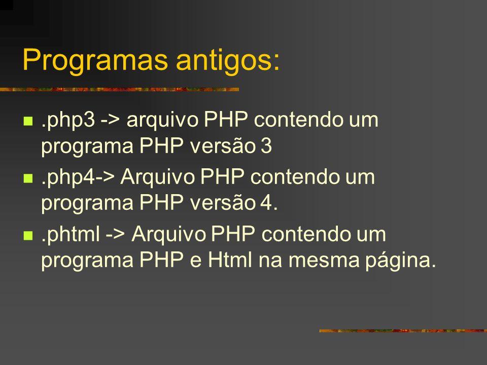 Programas antigos: .php3 -> arquivo PHP contendo um programa PHP versão 3. .php4-> Arquivo PHP contendo um programa PHP versão 4.