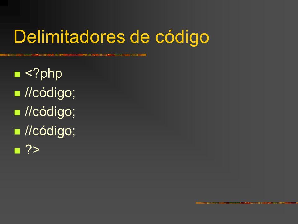Delimitadores de código