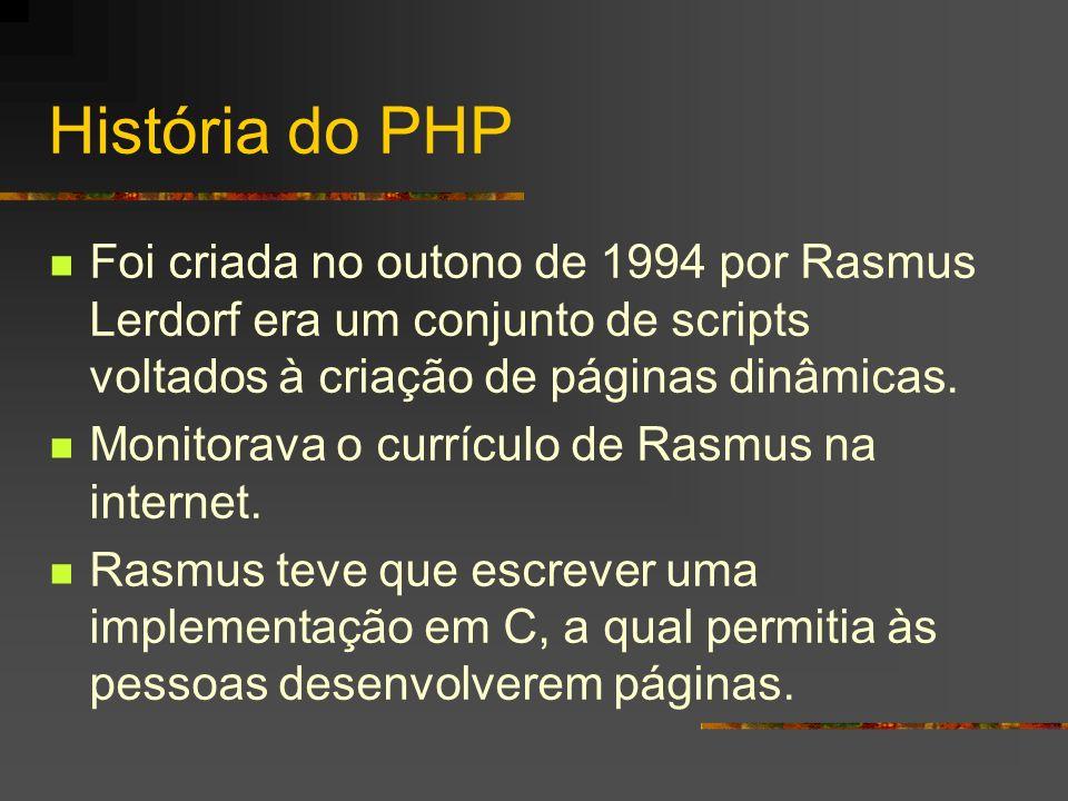 História do PHP Foi criada no outono de 1994 por Rasmus Lerdorf era um conjunto de scripts voltados à criação de páginas dinâmicas.