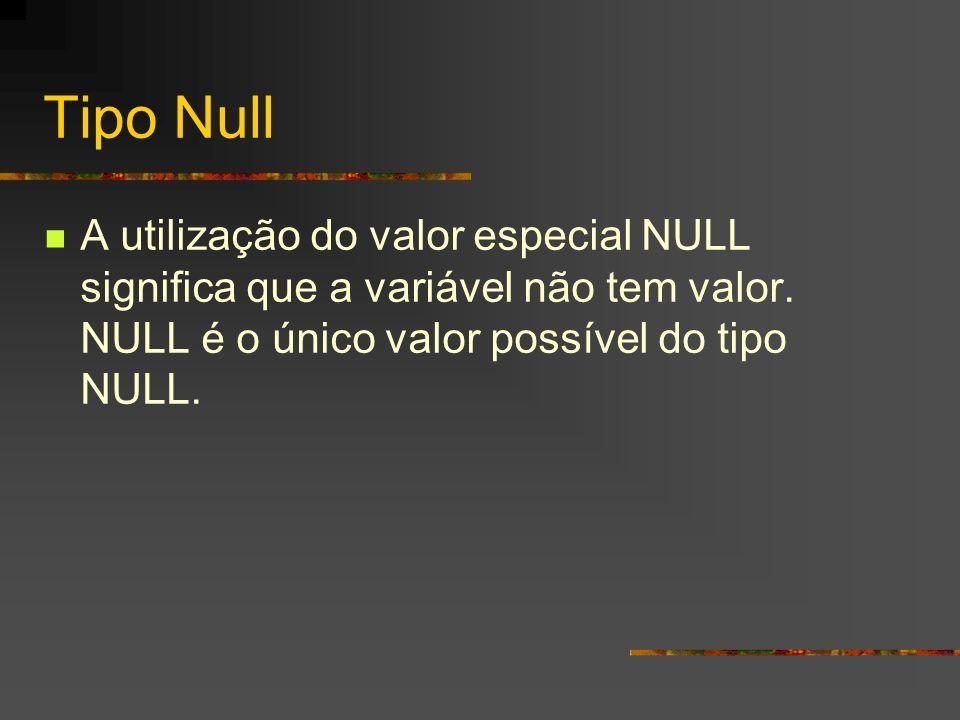 Tipo Null A utilização do valor especial NULL significa que a variável não tem valor.