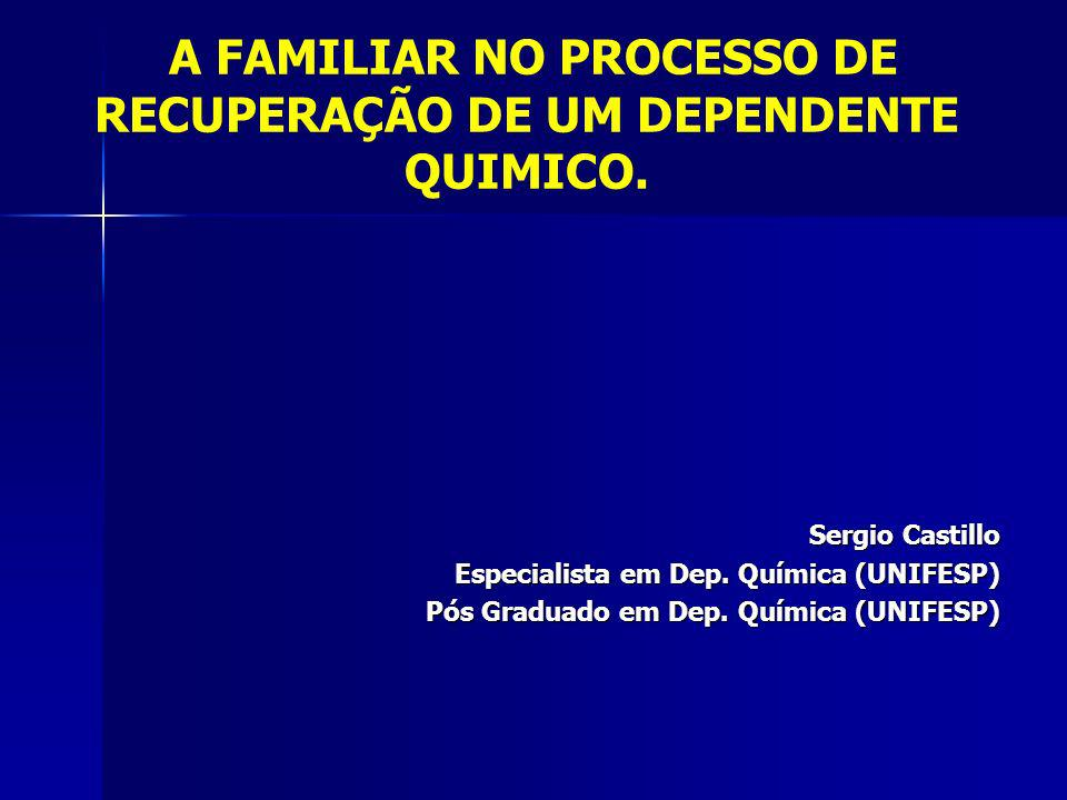 A FAMILIAR NO PROCESSO DE RECUPERAÇÃO DE UM DEPENDENTE QUIMICO.