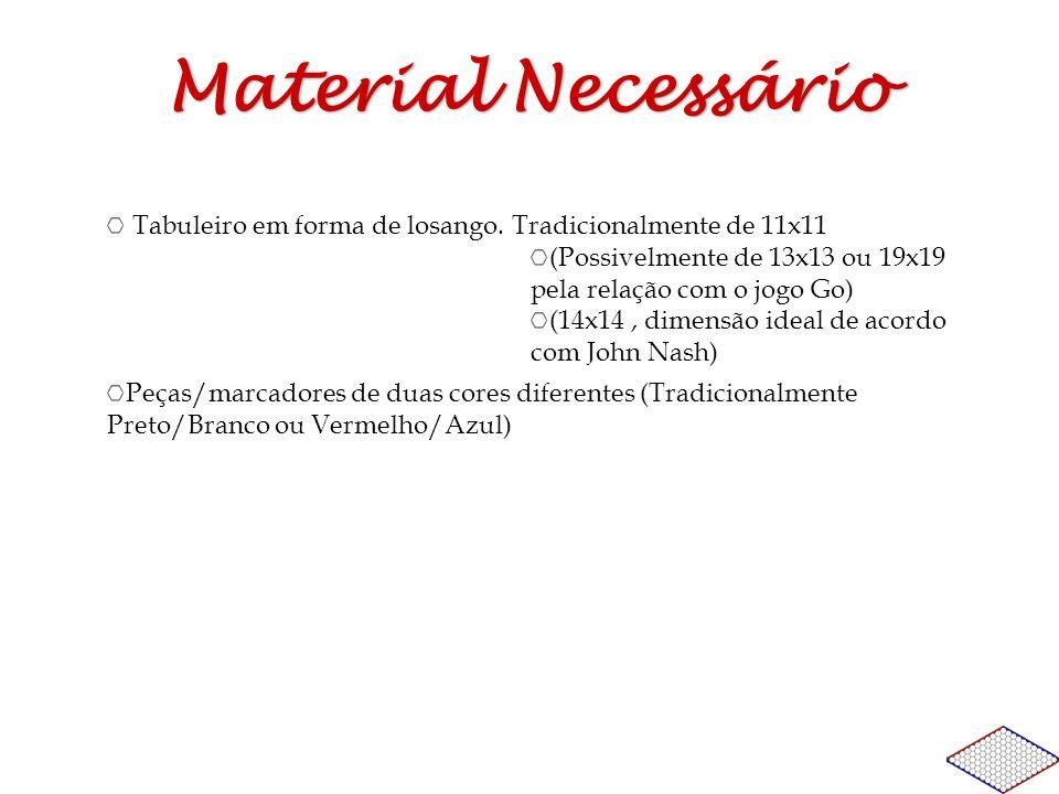 Material NecessárioTabuleiro em forma de losango. Tradicionalmente de 11x11. (Possivelmente de 13x13 ou 19x19 pela relação com o jogo Go)