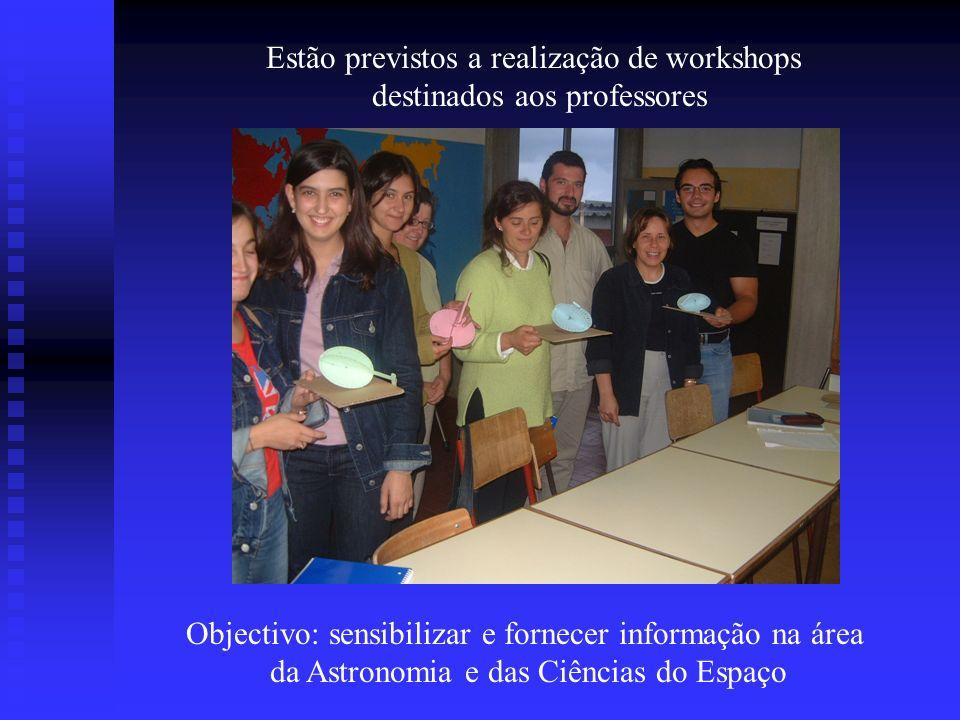 Estão previstos a realização de workshops destinados aos professores