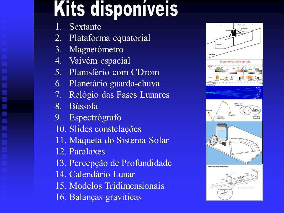 Kits disponíveis Sextante Plataforma equatorial Magnetómetro