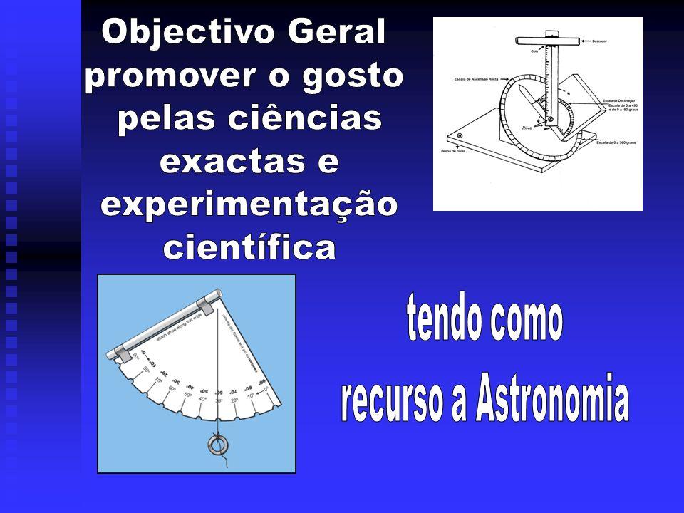 Objectivo Geral promover o gosto pelas ciências exactas e