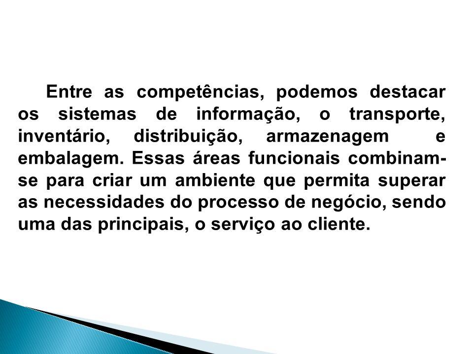 Entre as competências, podemos destacar os sistemas de informação, o transporte, inventário, distribuição, armazenagem e embalagem.