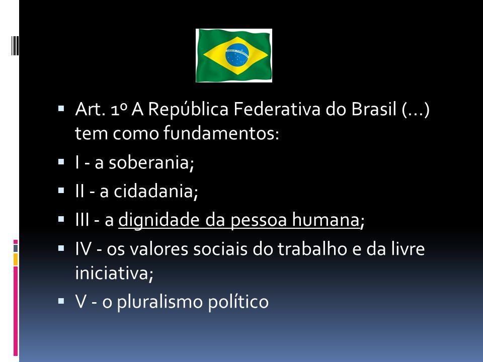 Art. 1º A República Federativa do Brasil (...) tem como fundamentos: