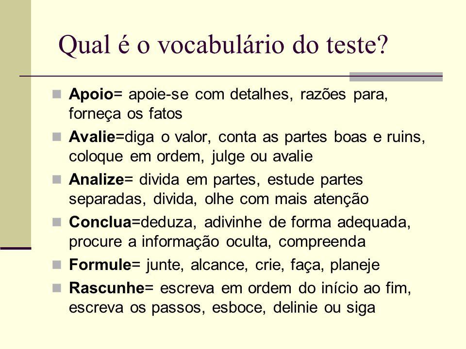Qual é o vocabulário do teste