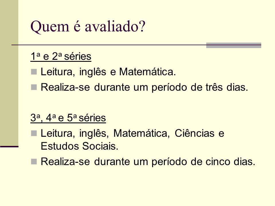 Quem é avaliado 1a e 2a séries Leitura, inglês e Matemática.