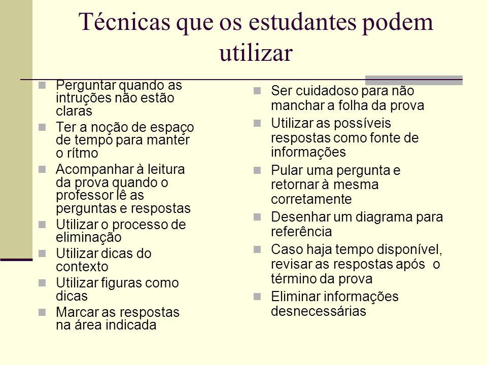 Técnicas que os estudantes podem utilizar