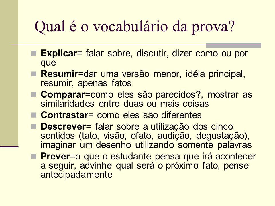 Qual é o vocabulário da prova