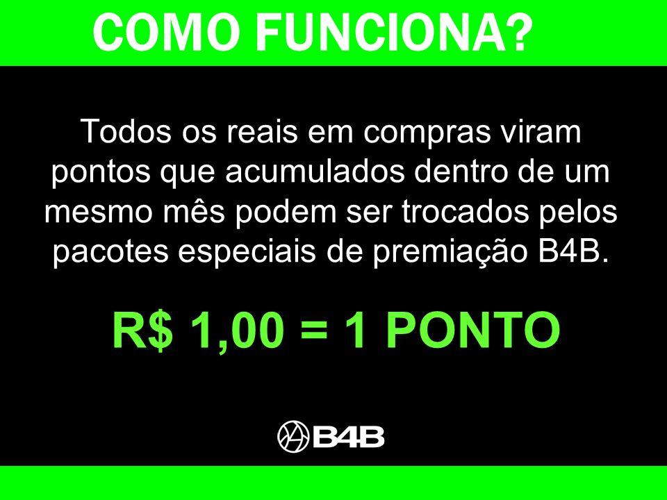 COMO FUNCIONA R$ 1,00 = 1 PONTO