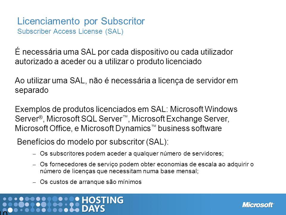 Licenciamento por Subscritor Subscriber Access License (SAL)