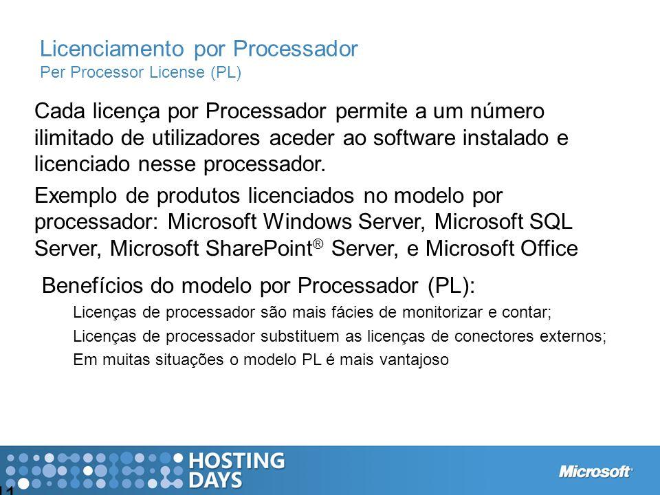 Licenciamento por Processador Per Processor License (PL)
