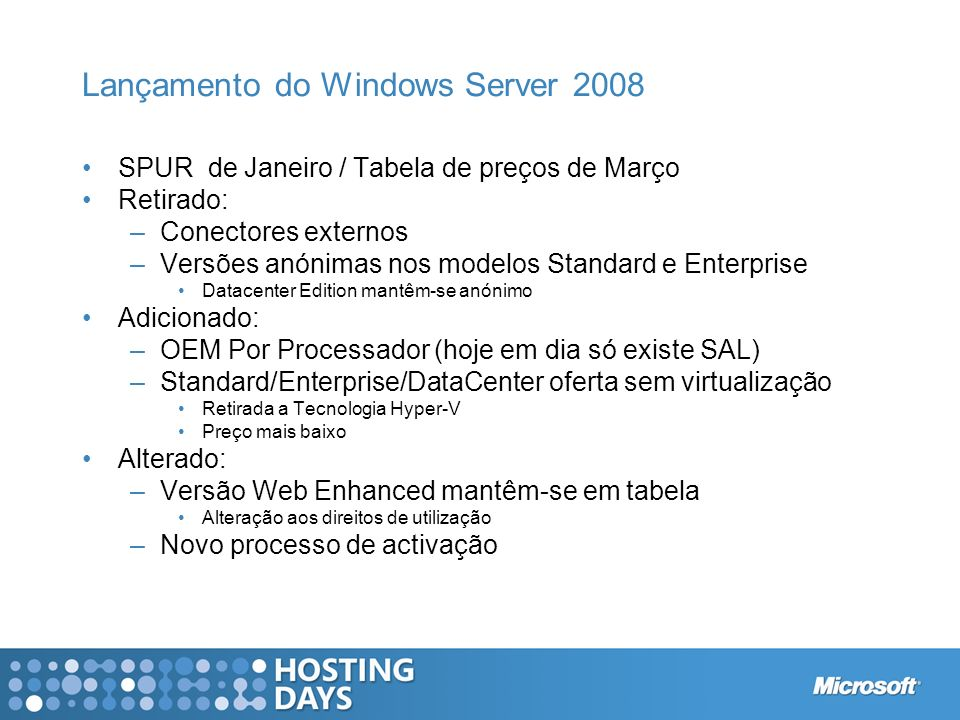 Lançamento do Windows Server 2008