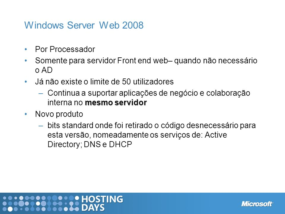 Windows Server Web 2008 Por Processador