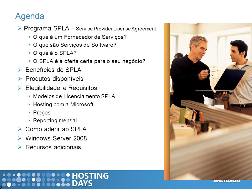 Agenda Programa SPLA – Service Provider License Agreement