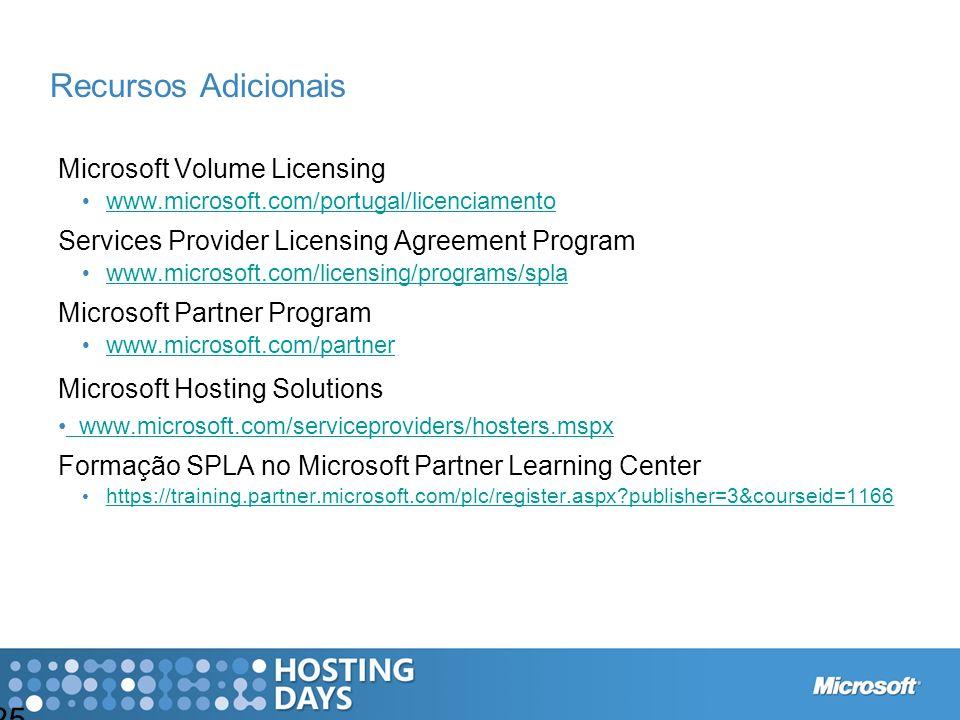 Recursos Adicionais Microsoft Volume Licensing