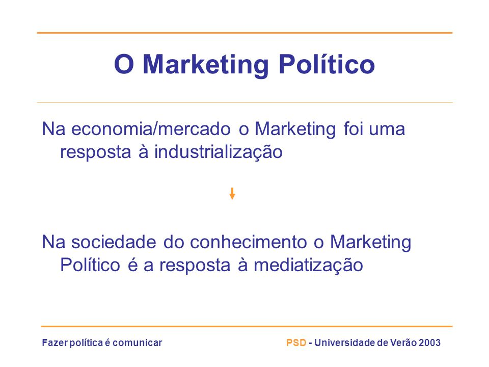 O Marketing PolíticoNa economia/mercado o Marketing foi uma resposta à industrialização.