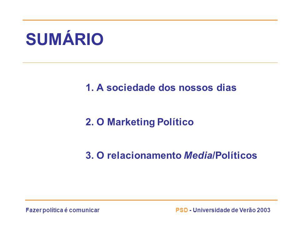 SUMÁRIO 1. A sociedade dos nossos dias 2. O Marketing Político
