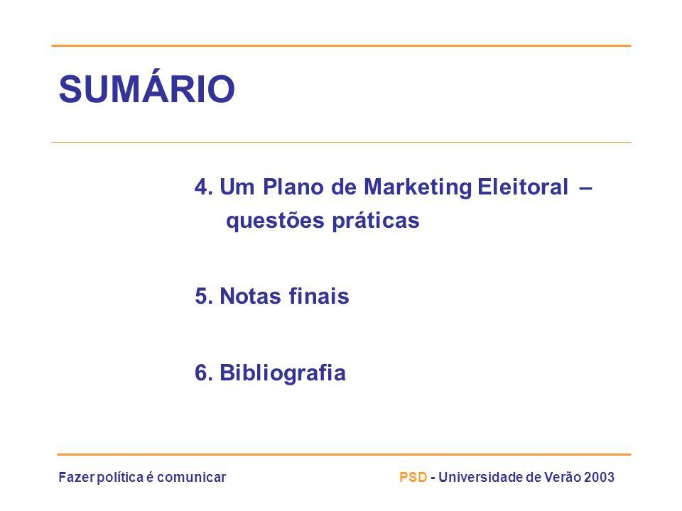 SUMÁRIO 4. Um Plano de Marketing Eleitoral – questões práticas