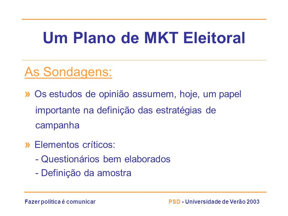 Um Plano de MKT Eleitoral
