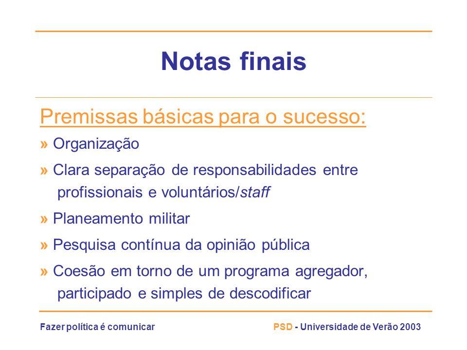 Notas finais Premissas básicas para o sucesso: » Organização