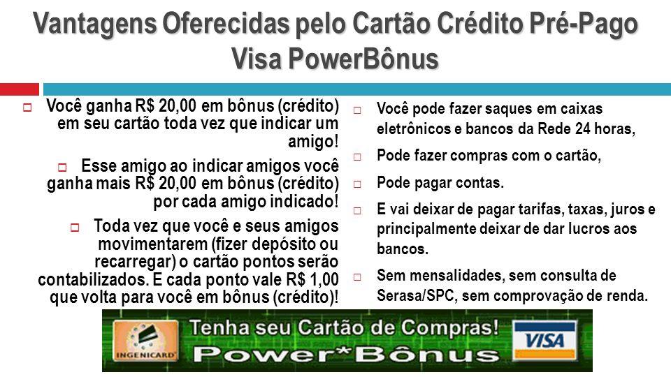 Vantagens Oferecidas pelo Cartão Crédito Pré-Pago Visa PowerBônus