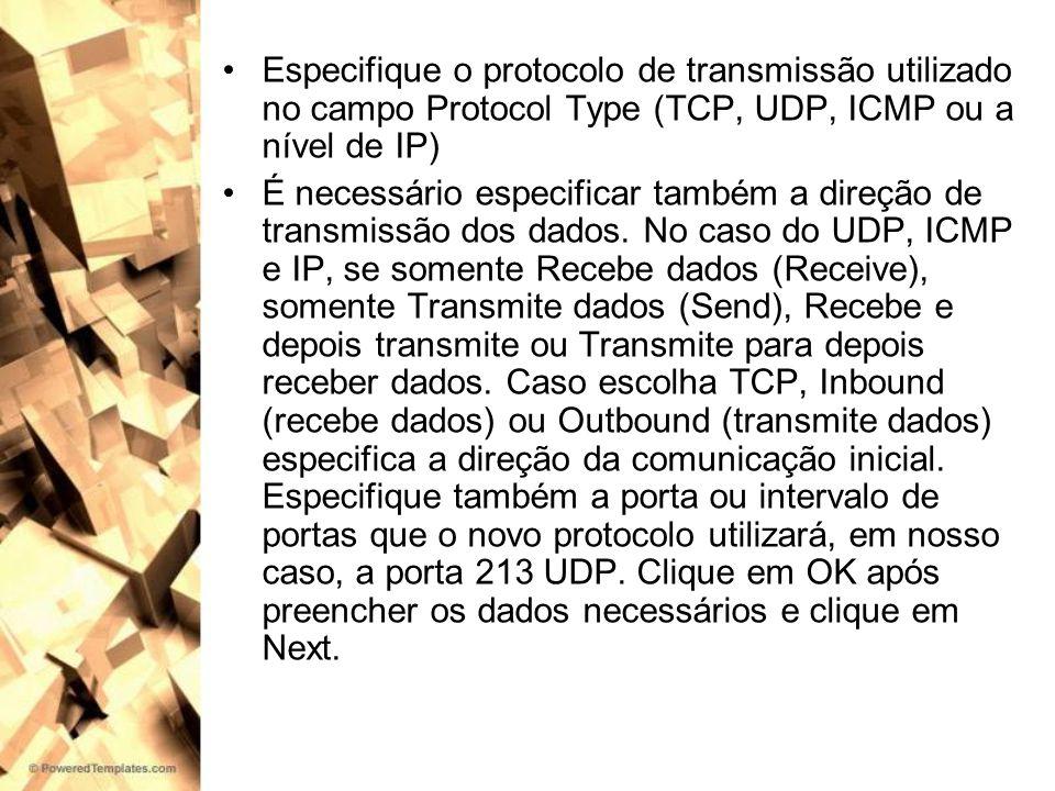 Especifique o protocolo de transmissão utilizado no campo Protocol Type (TCP, UDP, ICMP ou a nível de IP)