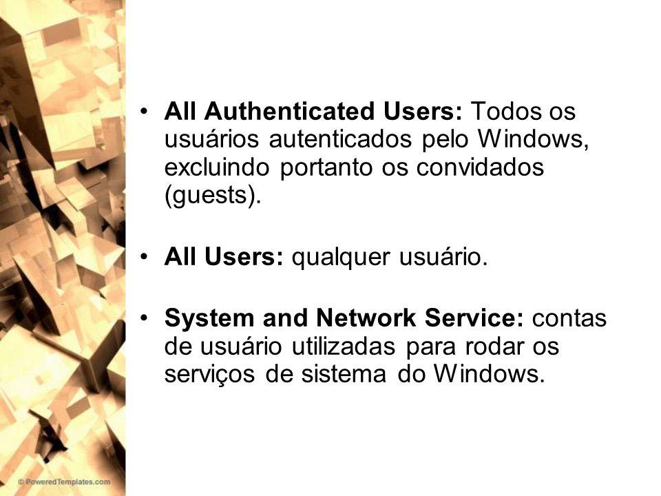 All Authenticated Users: Todos os usuários autenticados pelo Windows, excluindo portanto os convidados (guests).
