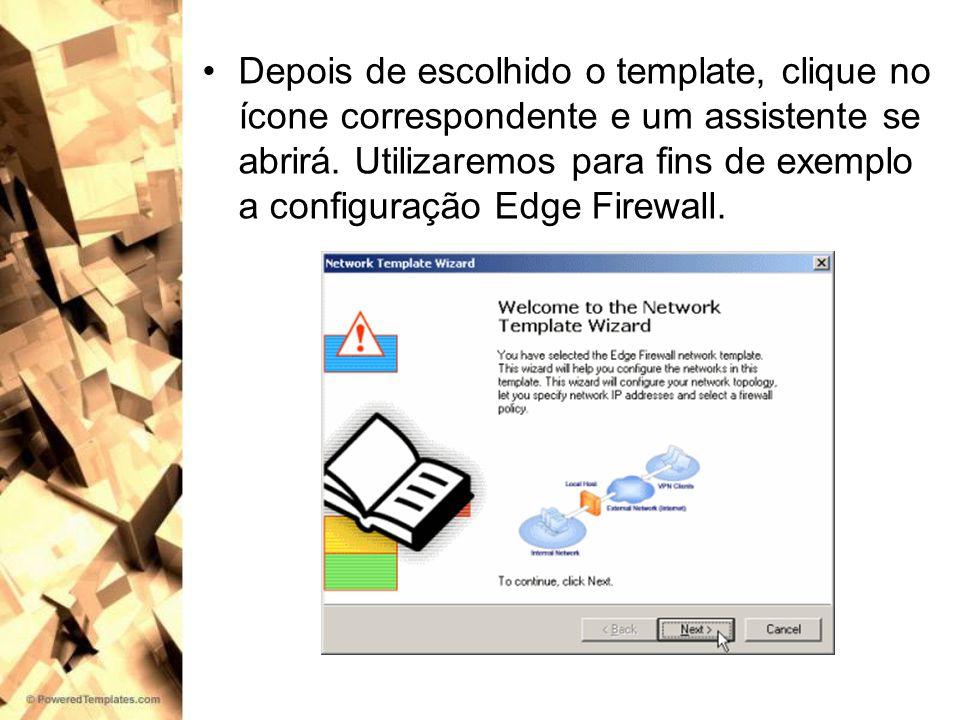 Depois de escolhido o template, clique no ícone correspondente e um assistente se abrirá.