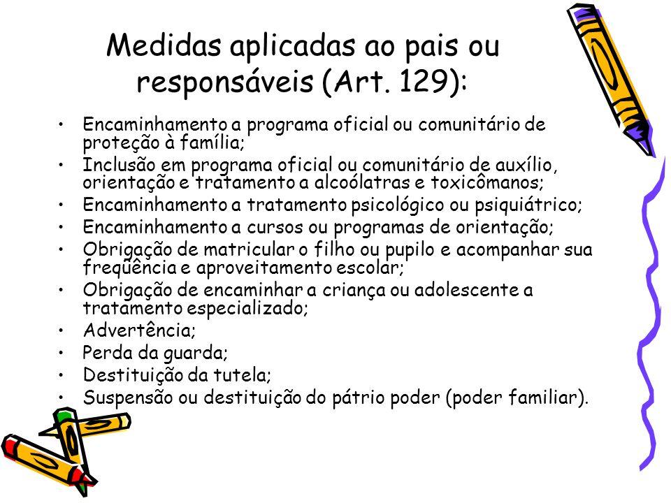 Medidas aplicadas ao pais ou responsáveis (Art. 129):
