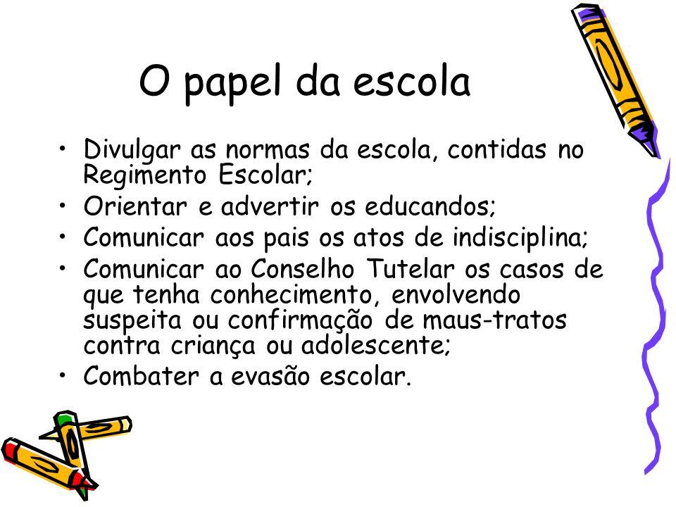 O papel da escola Divulgar as normas da escola, contidas no Regimento Escolar; Orientar e advertir os educandos;
