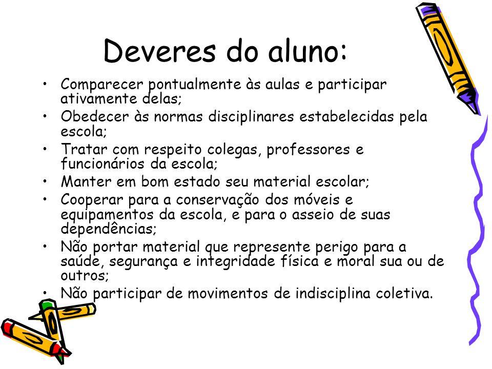 Deveres do aluno: Comparecer pontualmente às aulas e participar ativamente delas; Obedecer às normas disciplinares estabelecidas pela escola;